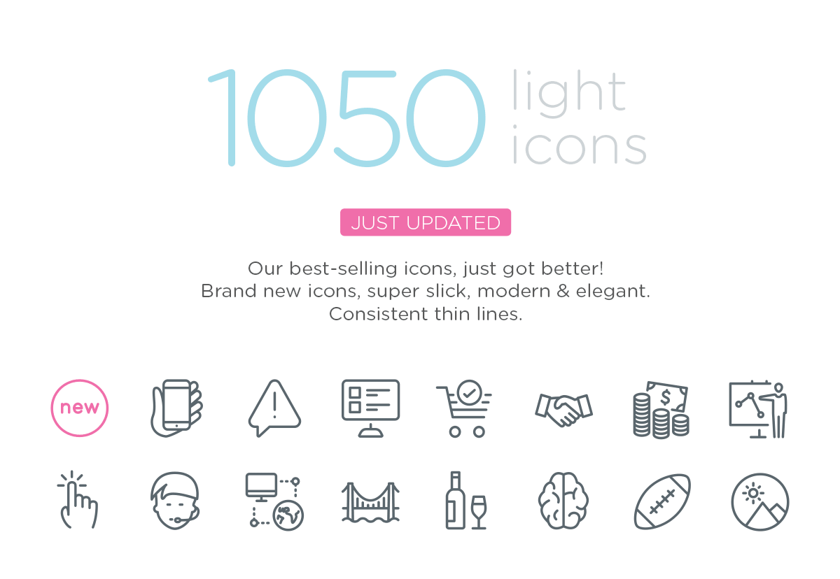 1050 light icons - The popular icon set just got better and bigger.