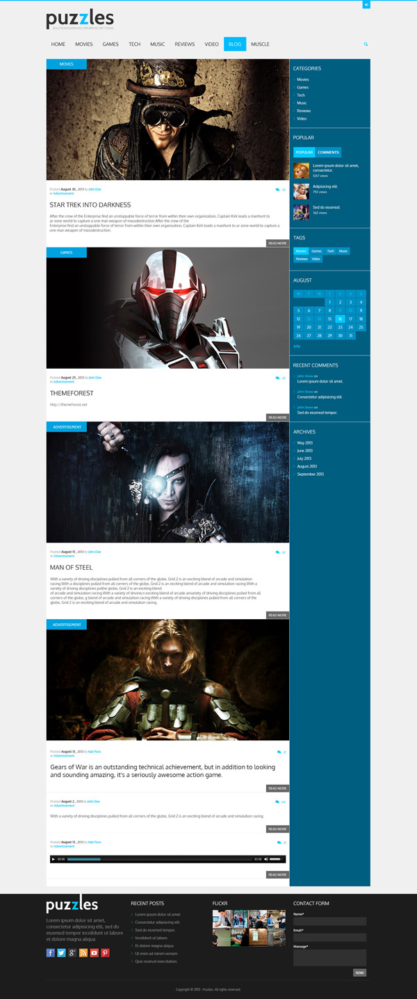 Puzzles WordPress Theme for Magazines/Review Pages