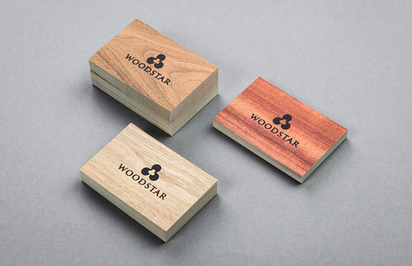 Business cards - wooden look.