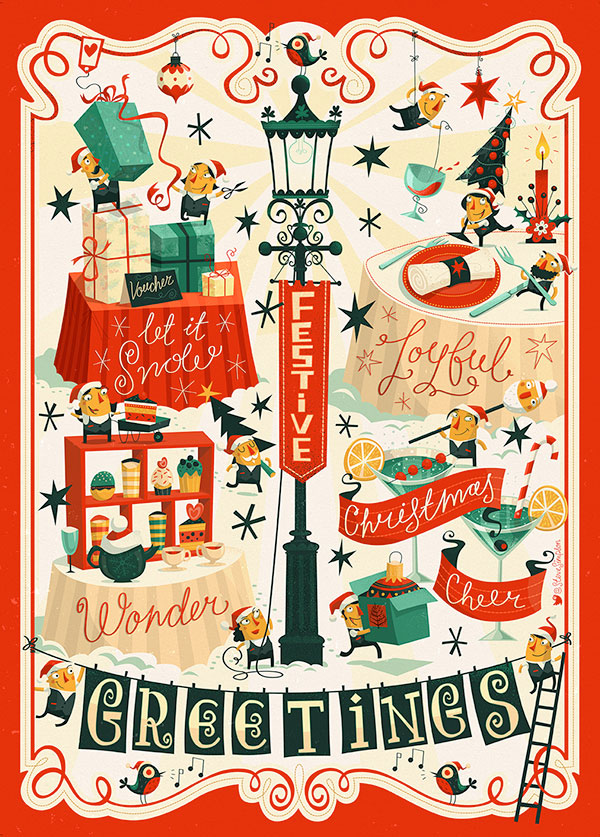 Four Seasons Hotel – Christmas Holidays Illustrations by Steve Simpson