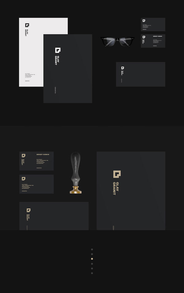 Glav Granit brand and stationery design by Alexander Laguta.