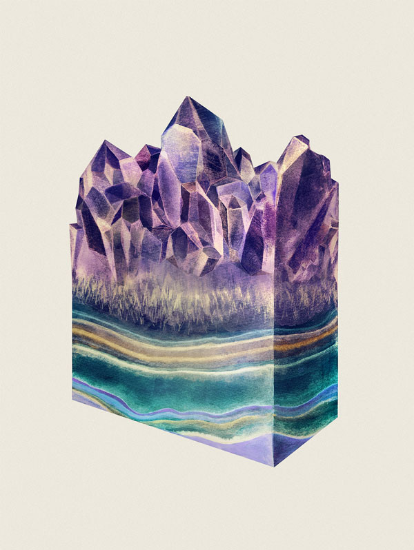 SLICED & TASTY AMETHYST - crystal and stone structures.