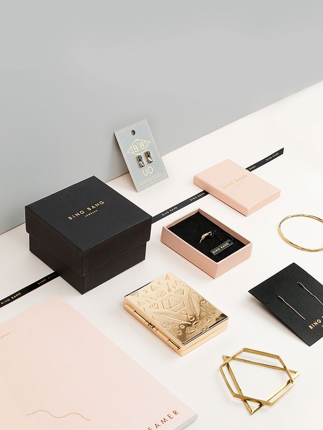 Bing bang jewelry branding and packaging for High design jewelry nyc