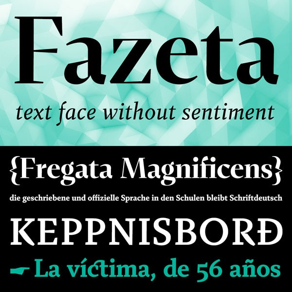 The Fazeta font family from Adtypo is a modern static Antiqua.