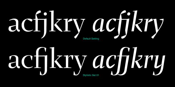 Default character setting vs stylistic set.