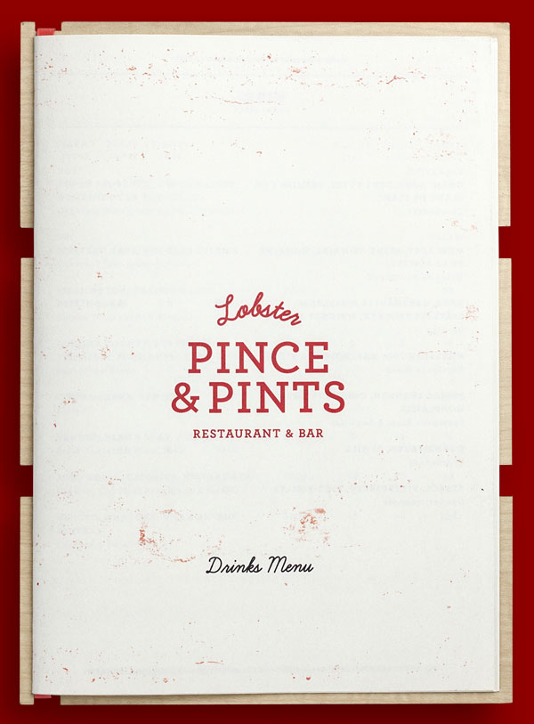 The cover of the restaurant menu is based on simple vintage inspired typography.