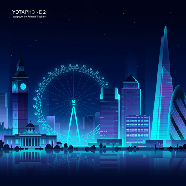 YotaPhone 2 - London wallpaper illustration by Romain Trystram for mobile phone.