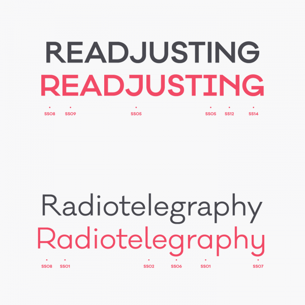 A modern display font based on geometric shapes.