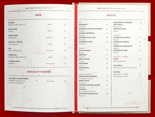 Pince & Pints - menu design by studio Bravo for Pince & Pints.