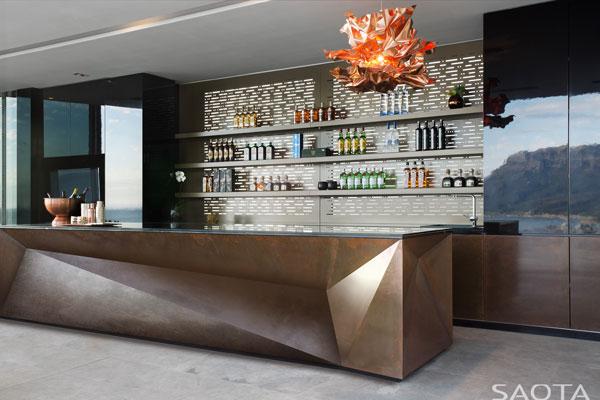 The spacious bar inside the residence.