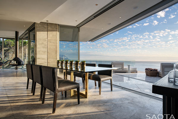 Also the dining area provides great views of the ocean.