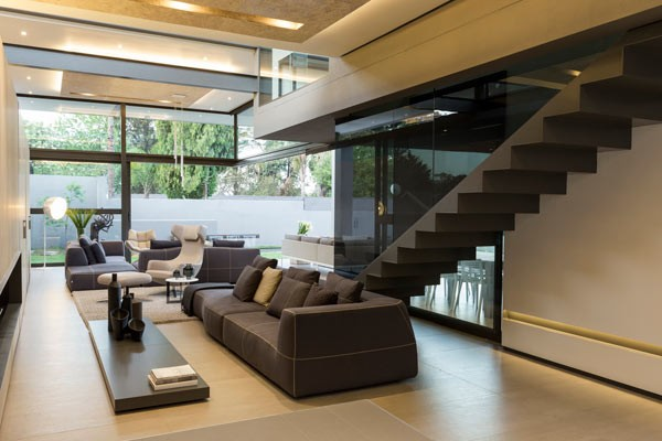 The interior is characterized by modern and luxurious design.