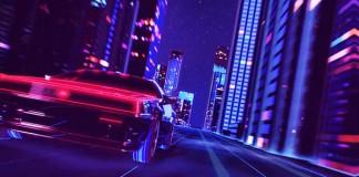 An urban night scene full of lights and speed.