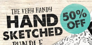 A download bundle of hand sketched logo and vector elements.