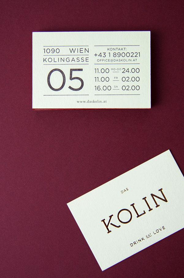 DAS KOLIN - KITCHEN AND DRINKS - Restaurant brand identity by Julia Klinger of studio VON K Design.
