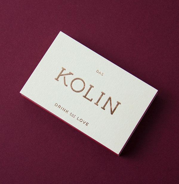 DAS KOLIN - KITCHEN AND DRINKS - restaurant business cards.