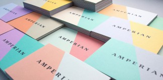 Different colorful business cards.