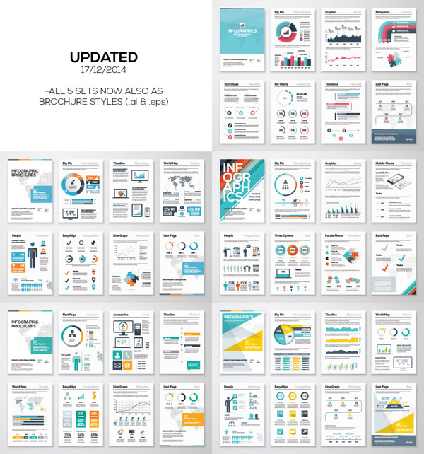 Infographic template bundle - all 5 sets now also as brochure styles in AI and EPS format.