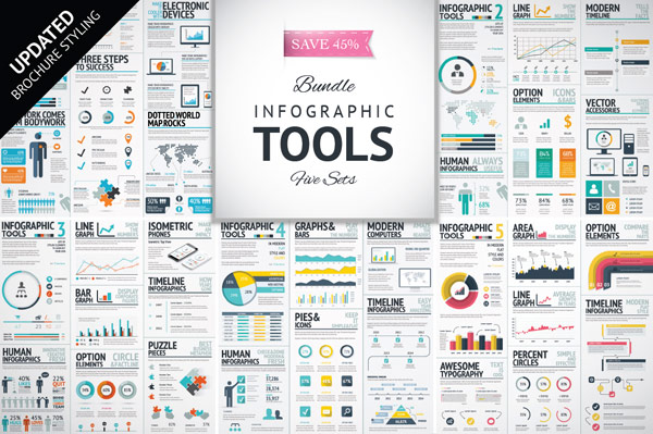 Infographics template bundle with brochure styling update.