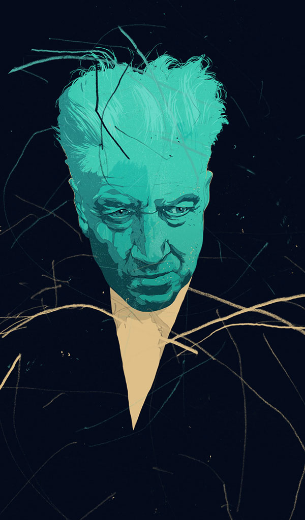 Personal illustration by Simon Prades for David Lynch's birthday.