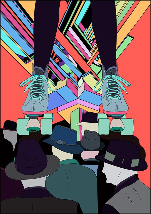 """""""Roller Skates"""" illustration created with a genius tablet and pen tool. This is a stylish 1980s inspired artwork!"""
