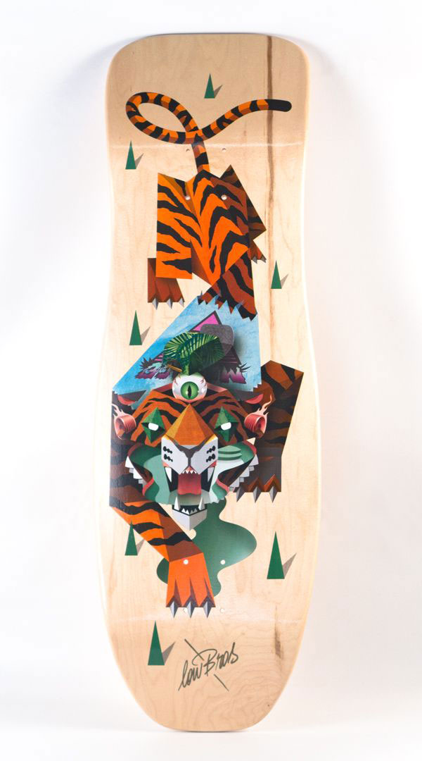 Straight Outta Venice - Tiger skateboard deck illustration.