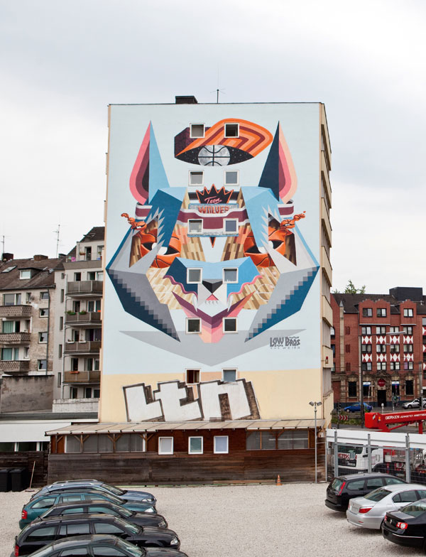 Street art in Cologne, Germany - created  by Low Bros in 2013.
