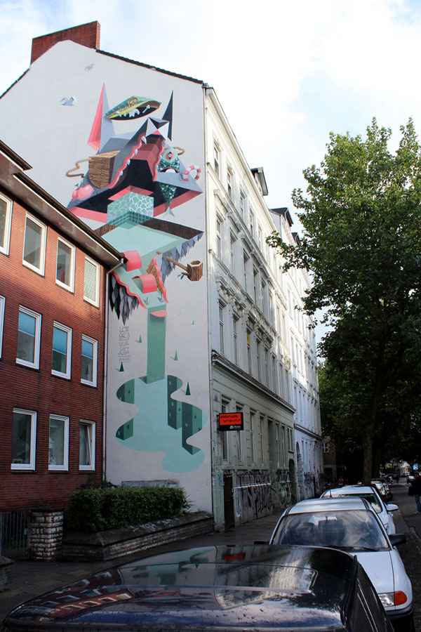 Wall illustration in Hamburg, Germany - created in 2013.