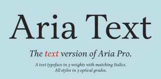 Aria Text, a sober and rational text font by Rui Abreu.