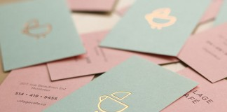 Business cards for Village Café , a kid-friendly coffee shop in Montreal, Canada.