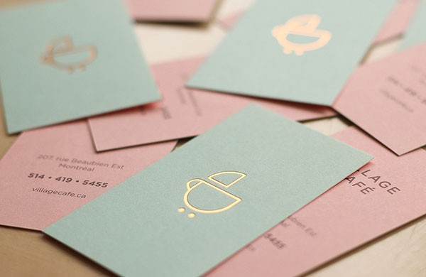 Business cards for Village Café, a kid-friendly coffee shop in Montreal, Canada.