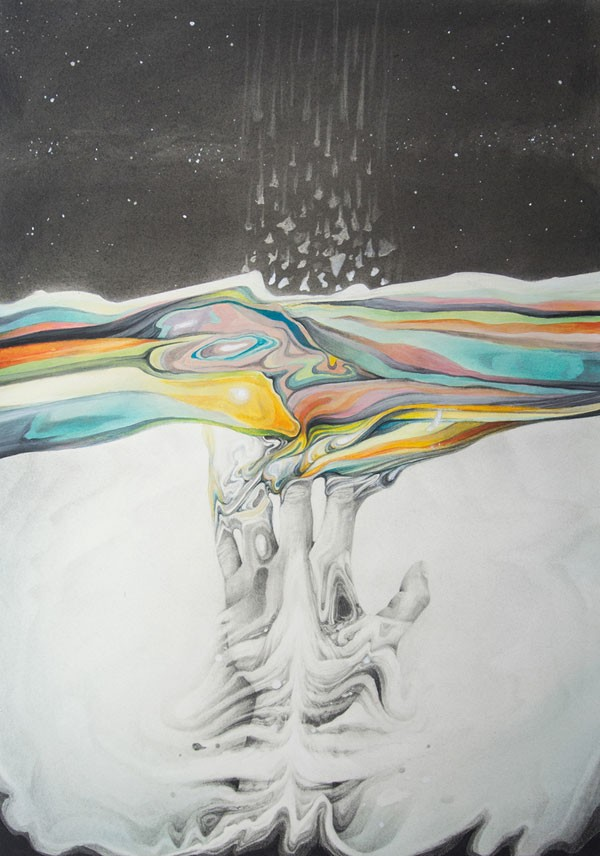 Overcome - Hand drawn and painted artwork symbolizing the breaking of barriers and overcoming of obstacles in our environment.