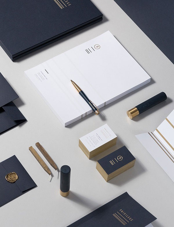 Privilege branding and stationery system designed by Polish studio for brands.