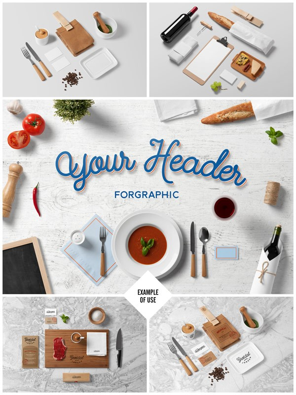 Restaurant and food branding mock-up from forgraphic™.