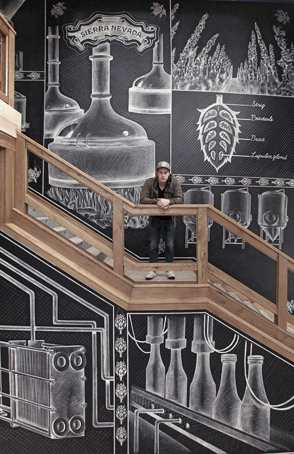 Sierra Nevada chalk mural by Ben Johnston, a Toronto, Ontario, Canada based designer and letterer.