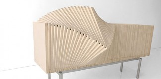 The Wave Cabinet is made of natural wood.