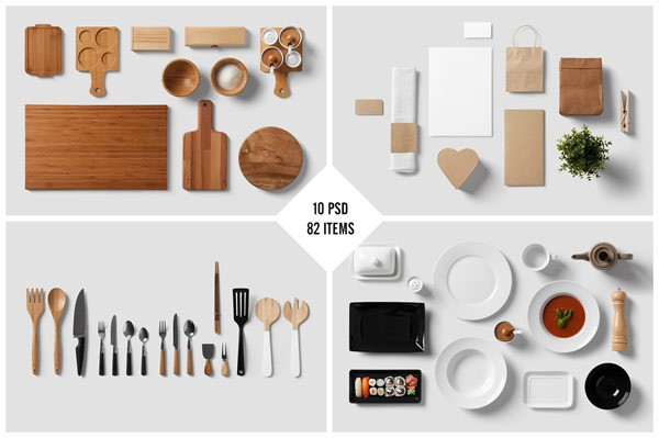 82 separated items included in 10 PSD files.