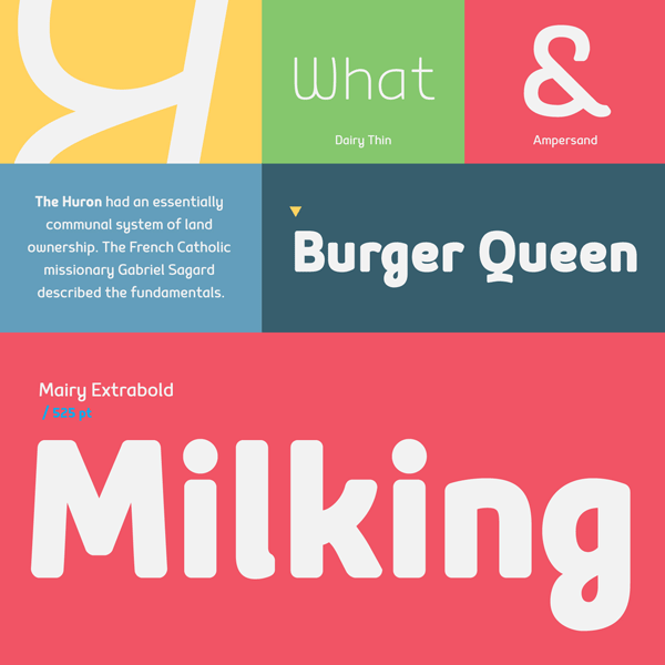 Some colorful type samples of the Mairy font family.
