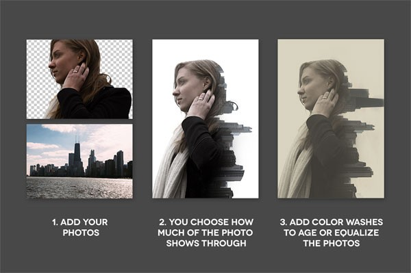 Add your photos - You choose how much of the photo shows through - Add color washes to age or equalize the photos.