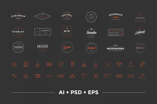 The Hipster Vintage Logo Pack with 18 premium logos plus 24 line icons as bonus, all included as AI, PSD, and EPS files.