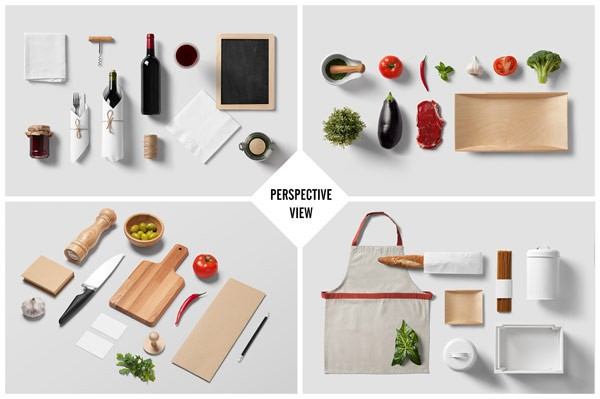Top view and perspective view of the restaurant and food branding mock-up.