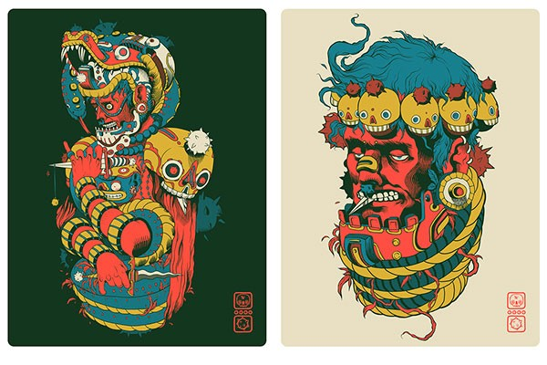 TORO & CUERPO posters by Mexican illustrator Raul Urias.