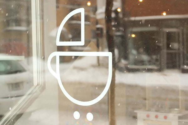 The store window with logo.