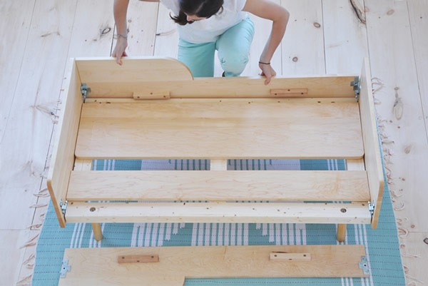 Assembling a bed in simple steps.