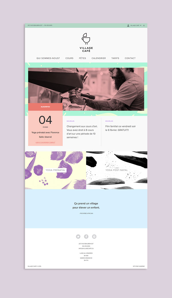 Website design by Studio Caserne for Village Café, a kid-friendly coffee shop in Montreal, Canada.