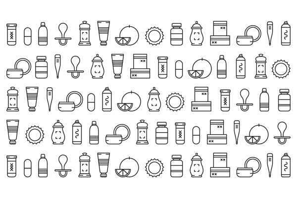 A set of graphics and icons for the visual identity.