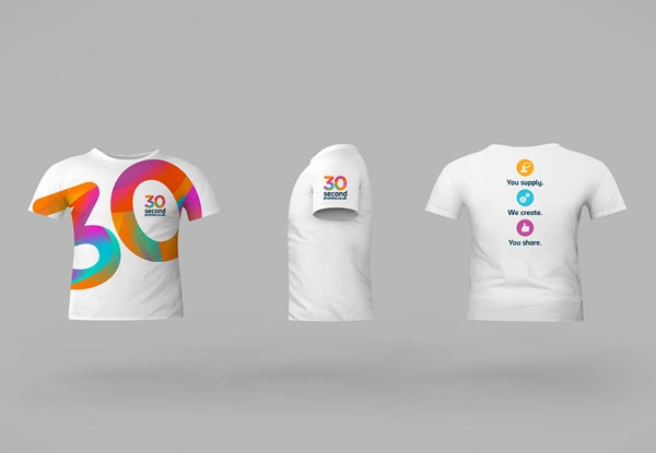 30sp brand identity design by studiojq for Corporate t shirt designs