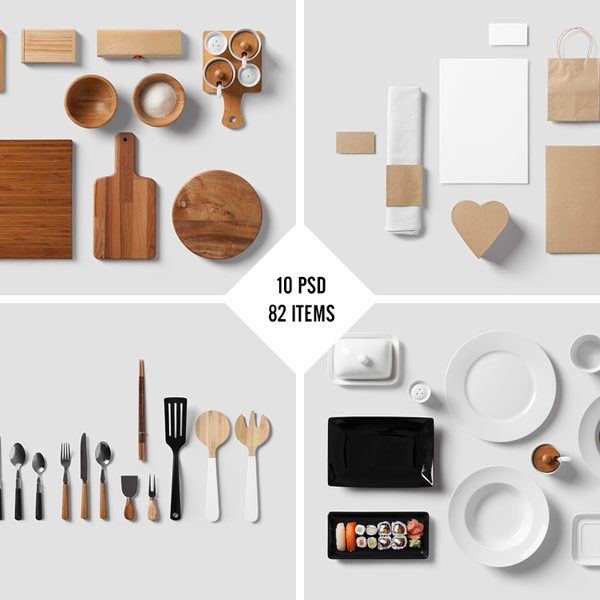 Restaurant food branding mock up from forgraphic™