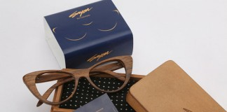 Sayon - Wood frame glasses with packaging.