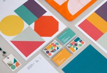Some of the colorful branding materials.